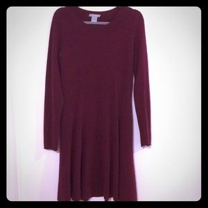 Burgundy Long Sleeve Cashmere Sweater Dress